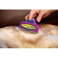 Brosse pour chat Furminator pour chat à poils longs de taille L violet